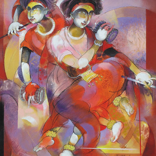 The Folk Dancers - Two Goravas Digital Print by Devendra.M.Badiger,Decorative