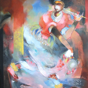 The Folk Dancer - Gorava 01 by Devendra.M.Badiger, Decorative Painting, Acrylic on Canvas, Brown color