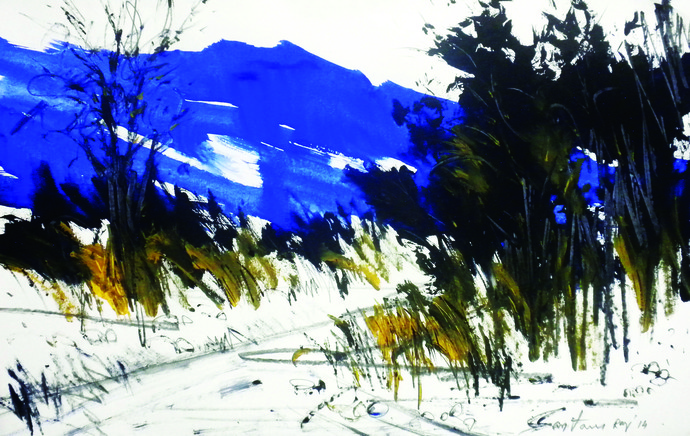 Magical Landscape III by Santanu Roy, Impressionism Painting, Watercolor on Paper, Gray color