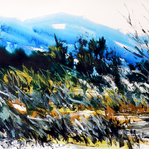 Magical Landscape V by Santanu Roy, Impressionism Painting, Watercolor on Paper, Green color