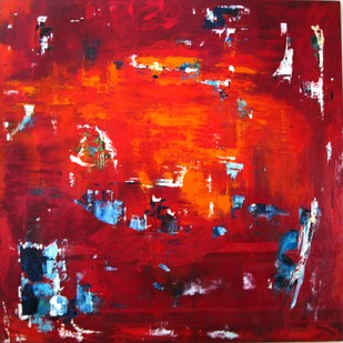 Untitled by Vineeta Vadhera, Abstract Painting, Oil on Canvas, Red color