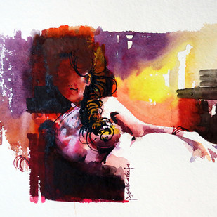 Untitled by Rajendra Pasalkar, Impressionism Painting, Watercolor on Paper, Brown color