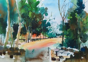 Untitled by Rajendra Pasalkar, Impressionism Painting, Watercolor on Paper, Green color