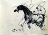 Motion VII by Mithun Dutta, Illustration Painting, Charcoal on Paper, Beige color