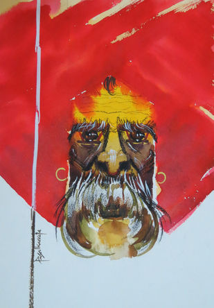 Untitled by Rajendra Pasalkar, Impressionism Painting, Watercolor Wash on Paper, Red color