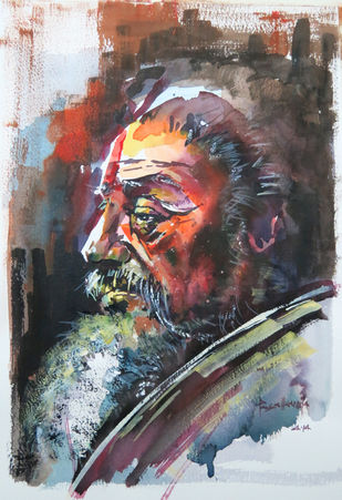 Sadhu by Rajendra Pasalkar, Impressionism Painting, Watercolor on Paper, Brown color