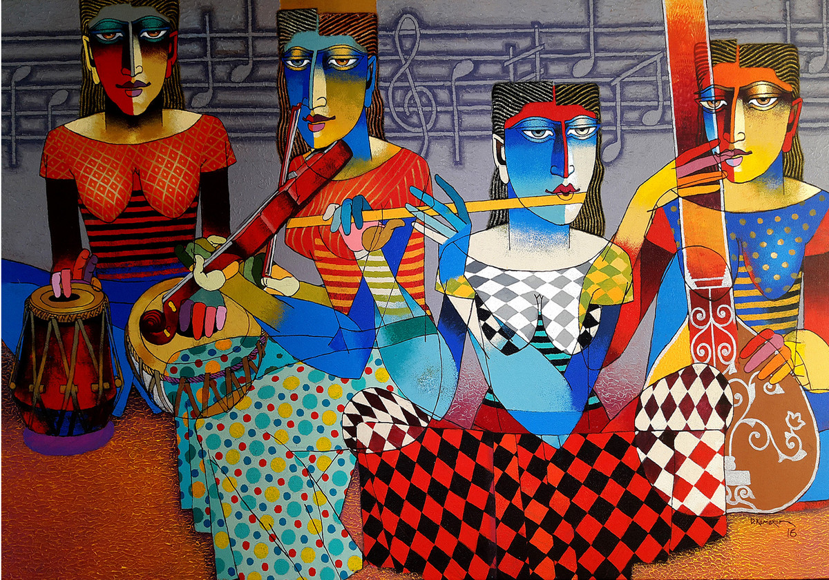 Musicians by Dayanand Kamakar, Decorative Painting, Acrylic on Paper,