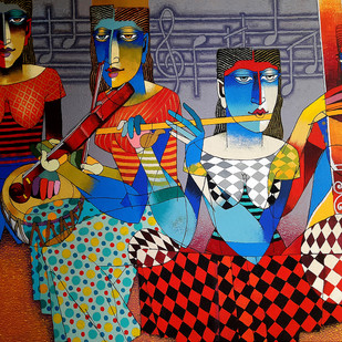 Musicians by Dayanand Kamakar, Decorative Painting, Acrylic on Paper, Brown color