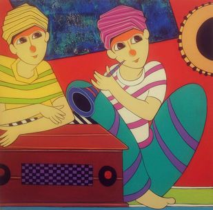 Musician by Dnyaneshwar Bembade, Decorative Painting, Acrylic on Canvas, Brown color