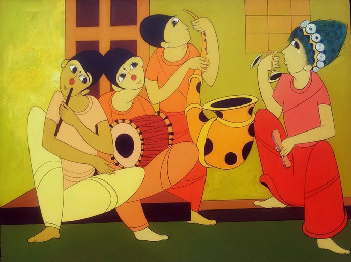 Waiting for Someone by Dnyaneshwar Bembade, Decorative Painting, Acrylic on Canvas, Brown color