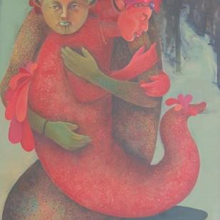 Safe Space by Pradnya Khandgonkar, Fantasy Painting, Acrylic on Canvas, Brown color