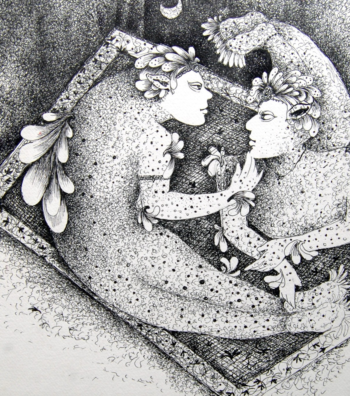 Lovers With moon by Pradnya Khandgonkar, Fantasy Drawing, Pen on Paper, Gray color