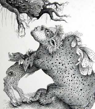 Real Human by Pradnya Khandgonkar, Fantasy Drawing, Pen on Paper, Gray color