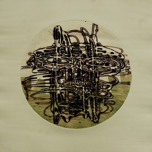 Expression of Life - 3 by Nagesh Gadekar, Abstract Printmaking, Intaglio on Paper, Beige color