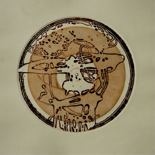 Expression of Life by Nagesh Gadekar, Abstract Printmaking, Intaglio on Paper, Beige color
