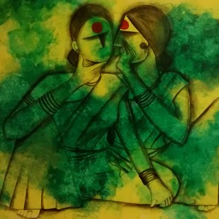 Gossip by Janaki Injety, Decorative Painting, Acrylic on Canvas, Green color