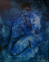 Waiting by Janaki Injety, Decorative Painting, Acrylic on Canvas, Blue color