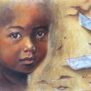 Lost innocence by Anukta Mukherjee Ghosh, Expressionism Painting, Mixed Media on Paper, Beige color