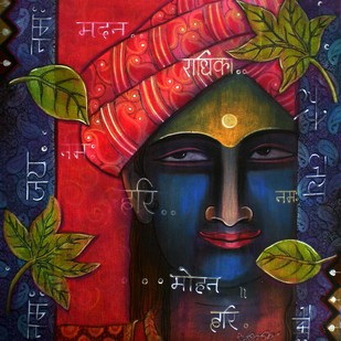 Kanha by Atin Mitra, Impressionism Painting, Mixed Media on Canvas, Blue color