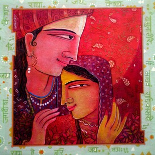 Idol of Romance by Atin Mitra, Impressionism Painting, Mixed Media on Canvas, Red color