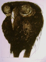 Owl by Shuvaprasanna B, Printmaking, Etching on Paper, Brown color