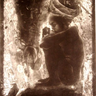 Untitled by V Nagdas, Printmaking, Etching on Paper, Brown color