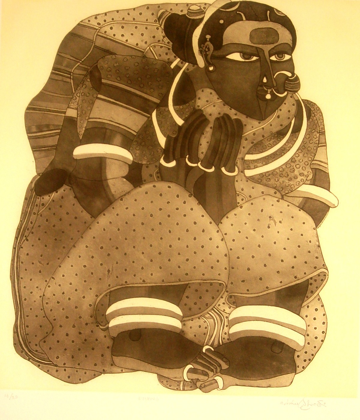 Untitled by Thota Vaikuntam, Printmaking, Etching on Paper, Brown color