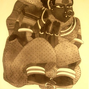Untitled by Thota Vaikuntam, Expressionism Printmaking, Etching on Paper, Brown color