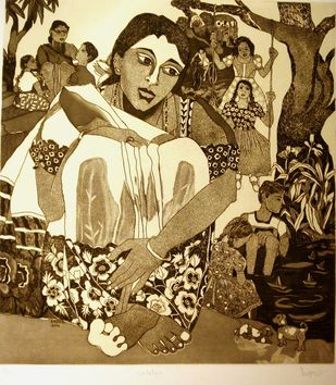 Untitled by Anjani Reddy, Printmaking, Etching on Paper, Brown color