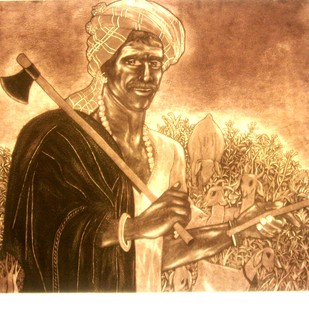 Man at Toil by Laxman Aelay, Impressionism Printmaking, Etching on Paper, Brown color