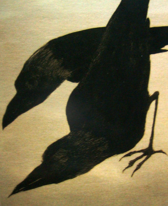Crows by Shuvaprasanna B, Printmaking, Etching on Paper, Beige color