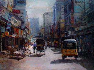 Madurai Street by Iruvan Karunakaran, Impressionism Painting, Acrylic on Canvas, Gray color