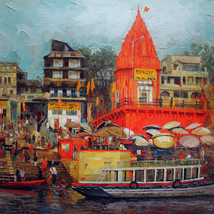 Varanasi_02 by Iruvan Karunakaran, , , Brown color