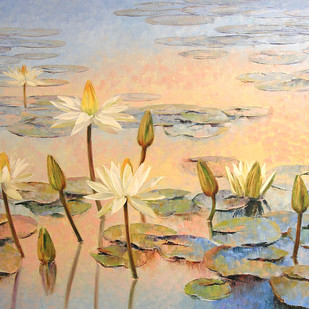 Water lilies by Swati Kale, Impressionism Painting, Oil on Canvas, Beige color