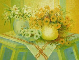 My Flowers Digital Print by Swati Kale,Impressionism