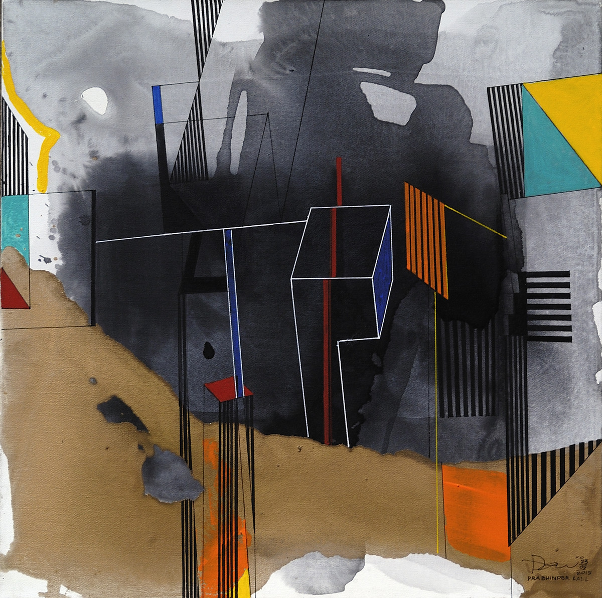 Urban Heights 02 by Prabhinder Lall, Geometrical Painting, Acrylic & Ink on Canvas, Gray color