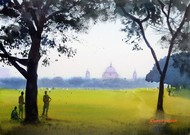 A Wintry Morning in Kolkata by Ramesh Jhawar, Impressionism Painting, Watercolor on Paper, Green color