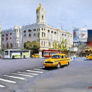 Glimpses of Kolkata by Ramesh Jhawar, Impressionism Painting, Watercolor on Paper, Gray color