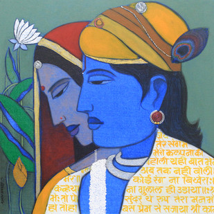 Lord krishna and Radha by Ashok Rathod, , , Green color