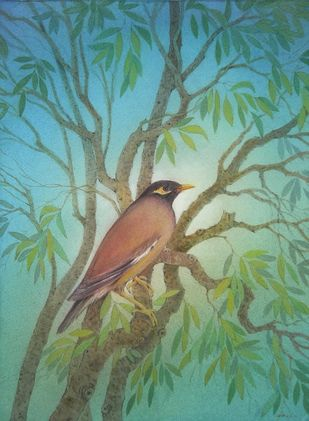 Myna by Pankaj Saroj, Painting, Watercolor Wash on Paper, Green color