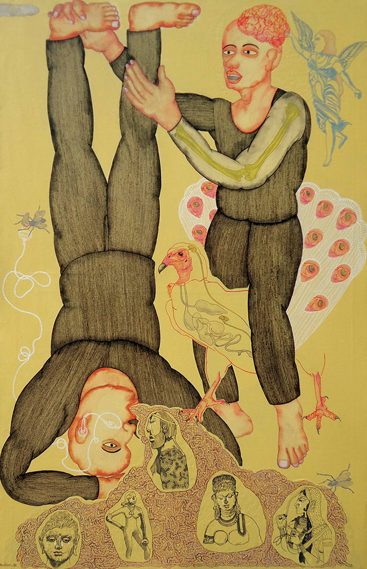 Force For Vomiting by Anjan Modak, Conceptual Painting, Acrylic on Canvas, Beige color