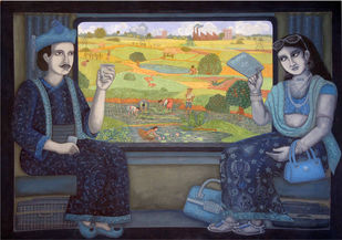 Pleasant Journey by Soma Das, Impressionism Painting, Gouache on Paper, Blue color