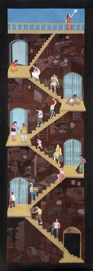 A Story Of The Staircase by Soma Das, Conceptual Painting, Mixed Media on Canvas, Brown color