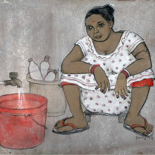 Ballygunj Lady by Soma Das, Painting, Mixed Media on Canvas, Gray color