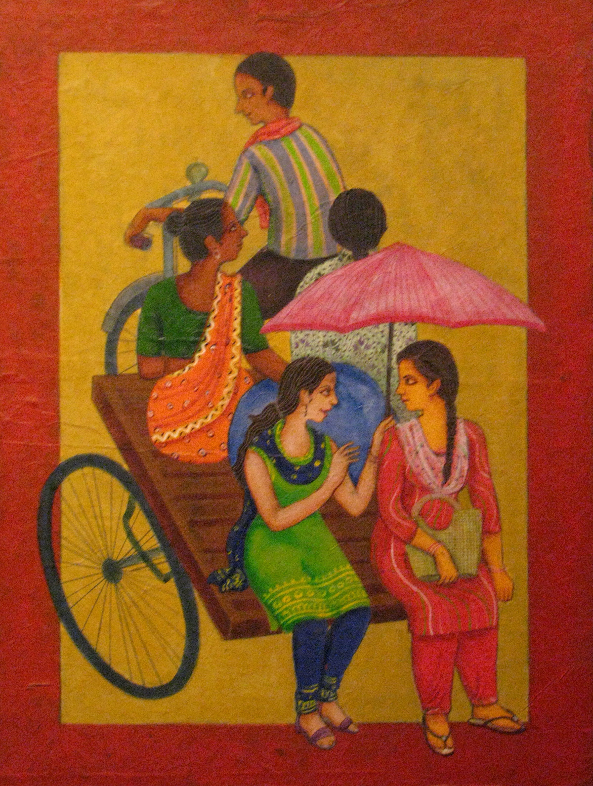 The Journey by Soma Das, Painting, Acrylic on Canvas, Brown color