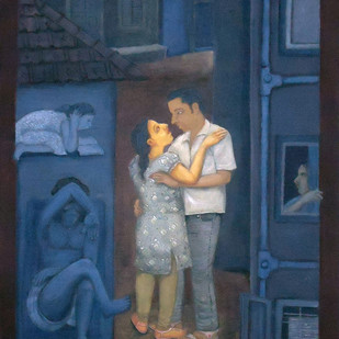 Lane Story by Soma Das, Painting, Gouache on Board, Blue color