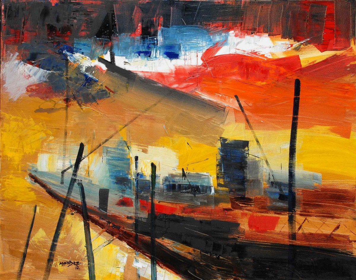 Untitled 1 by BalChandra Mandke, Abstract Painting, Oil on Canvas, Brown color