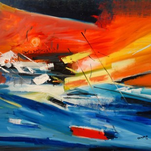 Untitled 3 by BalChandra Mandke, Abstract Painting, Oil on Canvas, Blue color