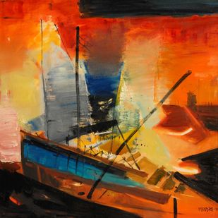 Untitled 4 by BalChandra Mandke, Abstract Painting, Oil on Canvas, Brown color