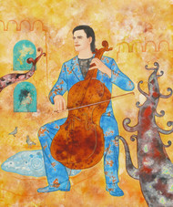 Cellist by Abhisek Dey, Decorative Painting, Acrylic on Canvas, Beige color